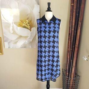 Oleg Cassini ~ Black & Blue Checkered Dress ~ Sz 2